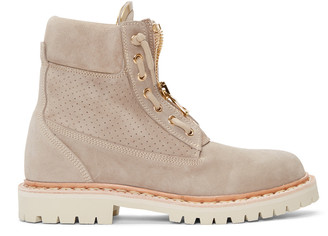 Balmain Beige Perforated Taiga Boots $1,195 thestylecure.com