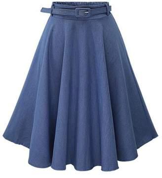 4b20337abb Allonly Women's Denim A-Line Elastic Waist Pleated Midi Skirt Knee Length  with Belt
