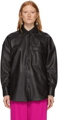 Tibi Black Faux-Leather Relaxed Utility Blouse