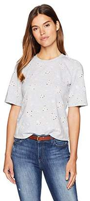 Rebecca Taylor Women's Short Sleeve Floral Embroidered tee