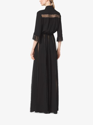 Michael Kors Silk Georgette and Chantilly Lace Gown