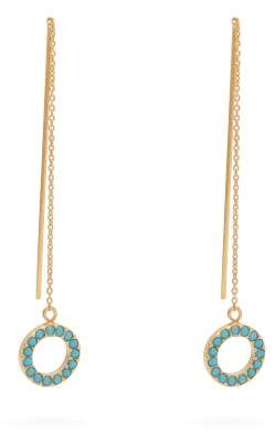 Isabel Marant Turquoise Embellished Chain Drop Earrings - Womens - Blue