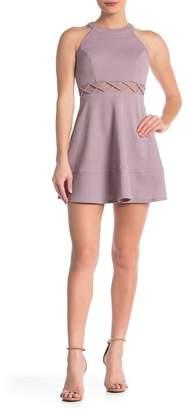 Love, Nickie Lew Glitter Lattice Mesh Skater Dress