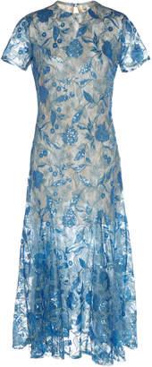 Costarellos Mesh Sequin Tulle Midi Dress