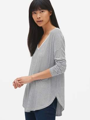 Gap Long Sleeve Stripe Open V-Back T-Shirt
