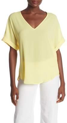 Lush Short Sleeve V-Neck Blouse