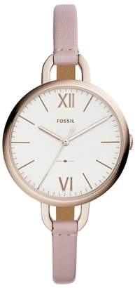 Fossil Women's Round Pink Leather Strap Watch, 36mm