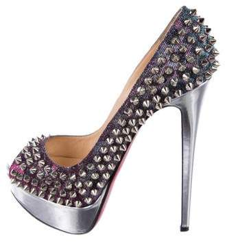 Christian Louboutin Lady Spiked Denim Pumps
