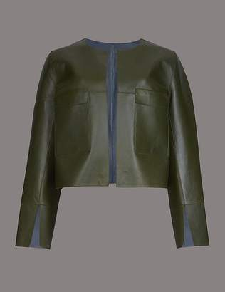 Marks and Spencer Leather Reversible Open Front Cropped Jacket