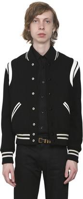 Saint Laurent Teddy Wool Jacket W/ Striped Details