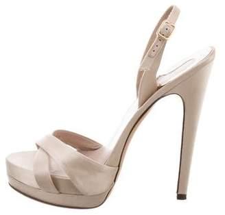 Salvatore Ferragamo Platform Satin Sandals