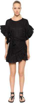 Etoile Isabel Marant Linen Ruffled Wrap Dress