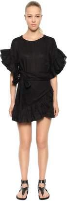 Etoile Isabel Marant Linen Ruffled Wrap Dress