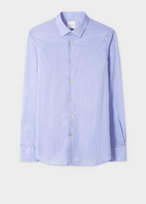 Paul Smith Men's Tailored-Fit Purple 'Geometric' Motif Cotton Shirt With Contrast Cuff Lining