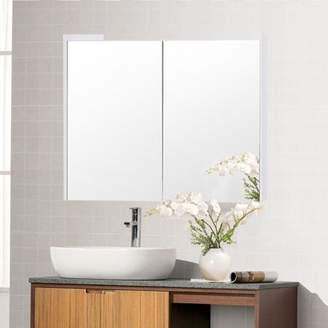 Costway 25'' Wide Wall Mount Mirrored Bathroom Cabinet Medicine Storage Organizer 2 Door