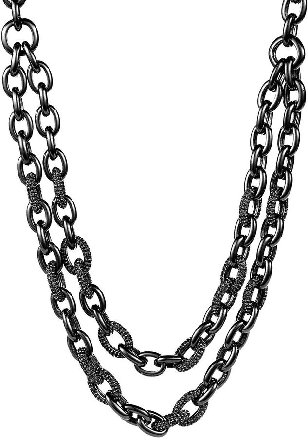 424 FIFTH Silver and Crystal Inlaid Double Chain Link Necklace
