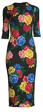 Alice + Olivia Women's Delora Floral Fitted Dress