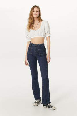 BDG Patch Pocket Flare Jeans - blue 24W 30L at Urban Outfitters