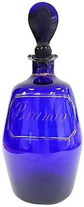 One Kings Lane Vintage 18th-C. English Cobalt Brandy Decanter - Rose Victoria