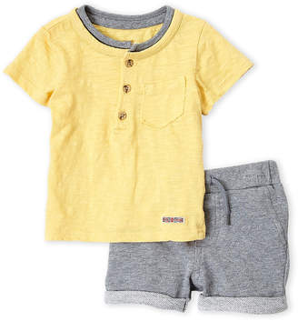 Hudson Infant Boys) Two-Piece Henley Tee & Pocket Short Set