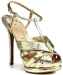 Nicholas Kirkwood Lace-Print Metallic Leather Platform Sandals
