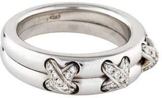Chaumet 18K Diamond Cross Liens Ring
