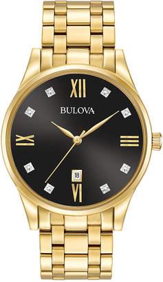 Bulova Men's Dress Diamond Accent Gold-Tone Stainless Steel Bracelet Watch 40mm 97D108