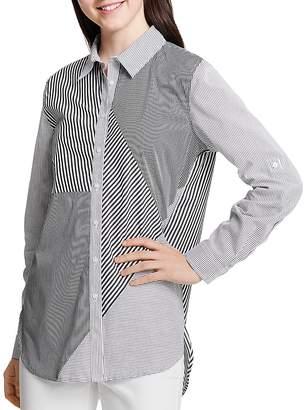 Calvin Klein Mixed Stripe Button-Down Top