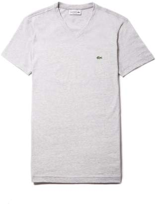 Lacoste Men's V-Neck Pinstriped Cotton Jersey T-shirt