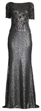 Alice + Olivia Basix Black Label Embellished Sequin Illusion Neckline Gown