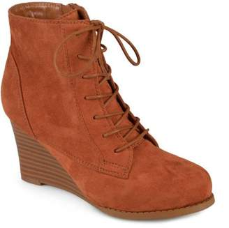 Co Brinley Collection Brinley Womens Lace-up Faux Suede Stacked Wedge Booties