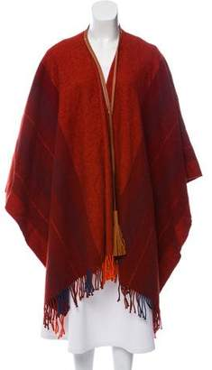 Hermes Leather-Trimmed Wool Poncho