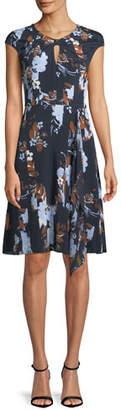 St. John Cap-Sleeve Painted Floral-Print Dress