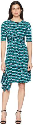 Donna Morgan 3/4 Sleeve Printed Jersey with Waist Gathering Women's Dress