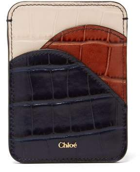 Chloé Walden Crocodile Embossed Leather Cardholder - Womens - Blue Multi
