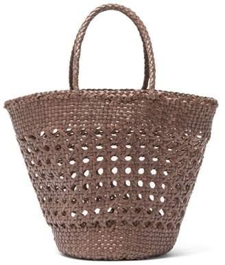 Dragon Optical Diffusion - Myra Woven Leather Basket Bag - Womens - Grey