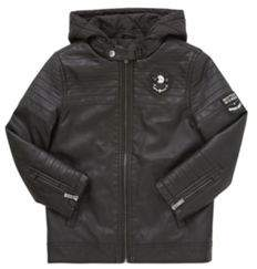 Faux Leather Quilted Biker Jacket