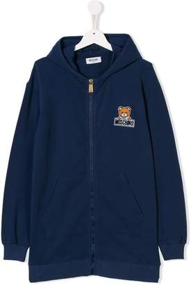 Moschino (モスキーノ) - Moschino Kids TEEN teddy logo patch zip hoodie