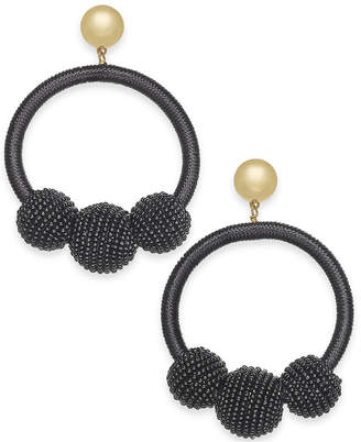 Kate Spade Gold-Tone Wrapped & Beaded Hoop Earrings