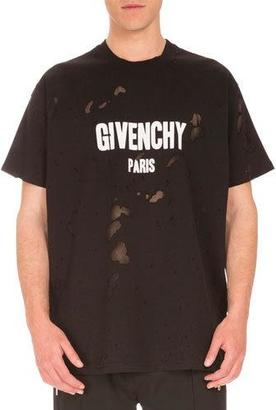 Givenchy Columbian-Fit Destroyed Logo T-Shirt, Black $745 thestylecure.com