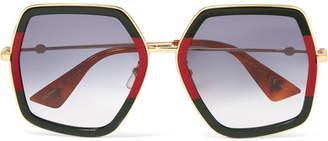 Gucci Square-frame Striped Acetate And Gold-tone Sunglasses - Green