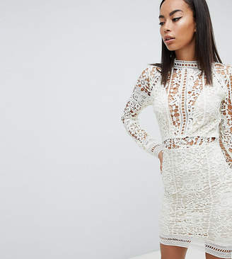 Missguided Tall exclusive tall lace long sleeve bodycon mini dress in white