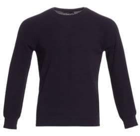 Ermenegildo Zegna Men's Raglan Textured Cotton Sweater - Dark Blue - Size Large