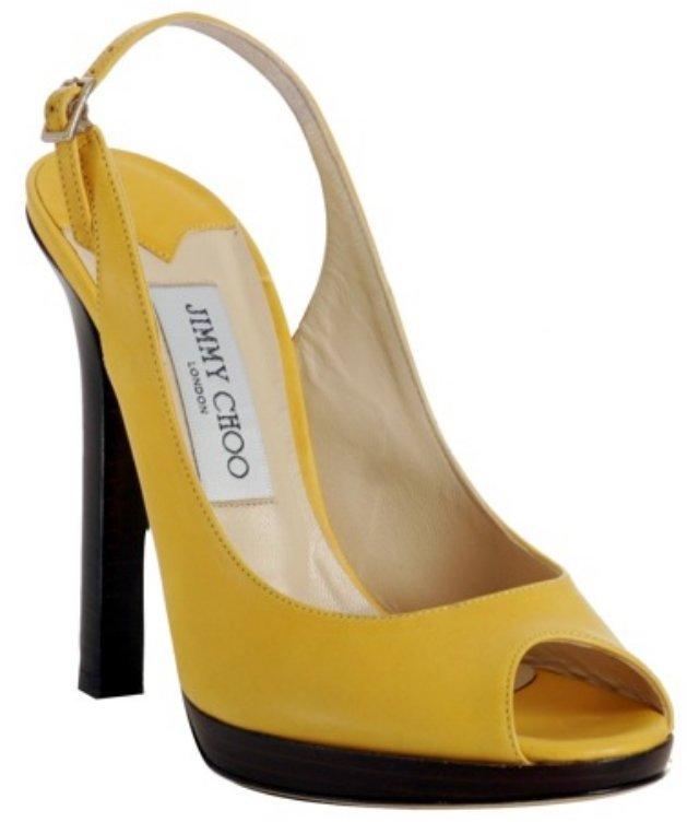 Jimmy Choo yellow leather 'Premier' platform slingbacks