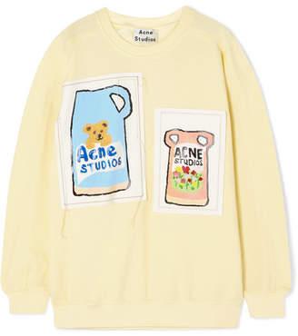 Acne Studios Foebe Appliquéd Cotton-jersey Sweatshirt - Pastel yellow