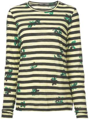 Proenza Schouler Floral Stripe Long Sleeve T-Shirt