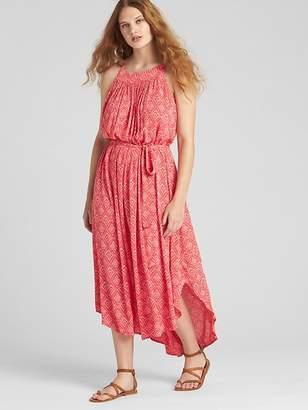 Gap Crinkle Print Tie-Belt Cami Midi Dress