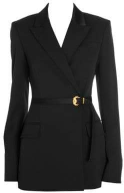 Versace Stretch Wool Belted Jacket