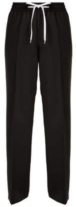 Miu Miu Side Stripe Wool And Mohair Blend Track Pants - Womens - Black