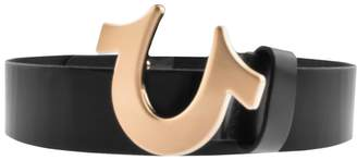 True Religion Horseshoe Logo Belt Black